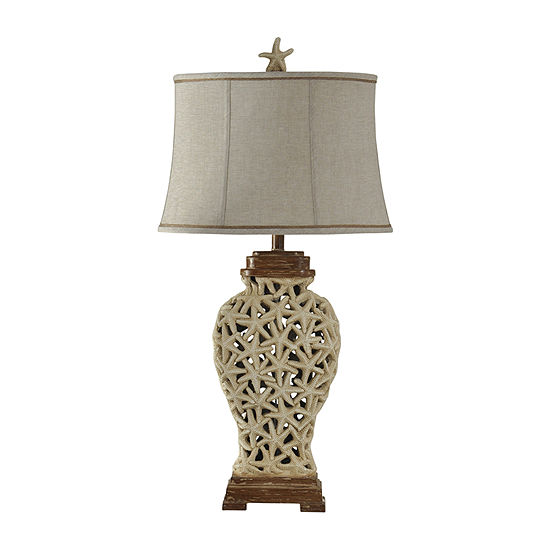 Stylecraft 18 W Brown And Beige Polyresin Table Lamp