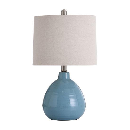 Stylecraft 12 W Seaside Storm Blue Ceramic Table Lamp