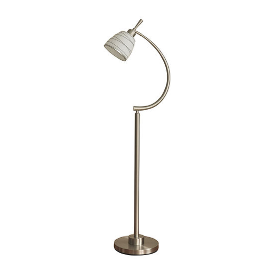 Stylecraft 6.5 W Brushed Steel Glass Floor Lamp