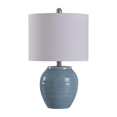 Stylecraft 12.5 W Light Blue Crackle Ceramic Table Lamp