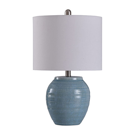 Stylecraft 12.5 W Light Blue Crackle Ceramic Table Lamp