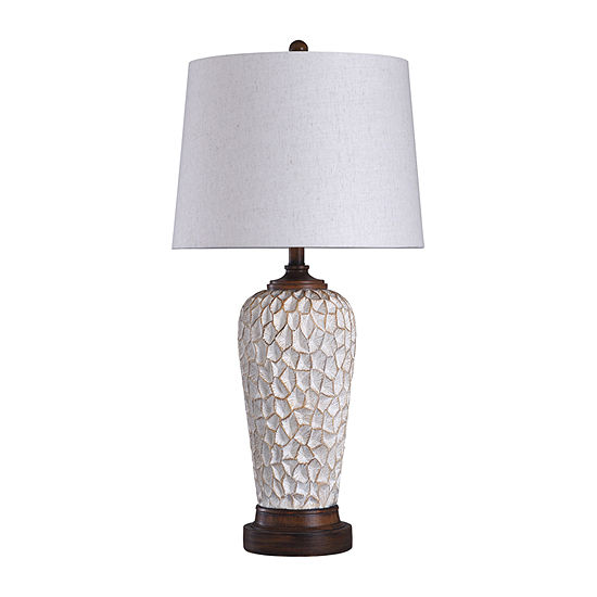 Stylecraft 16 W White & Brown Polyresin Table Lamp