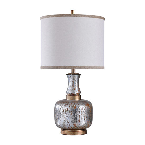 Stylecraft 16 W Silver & Copper Glass Table Lamp