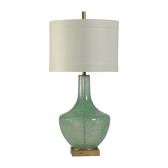 Stylecraft 18 W Turquoise Glass Table Lamp