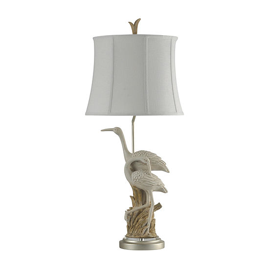Stylecraft 16 W Brown And White Polyresin Table Lamp