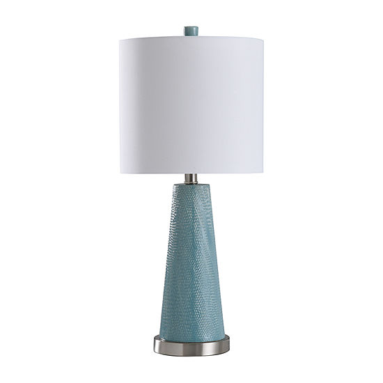 Stylecraft 11 W Teal & Steel Ceramic Table Lamp