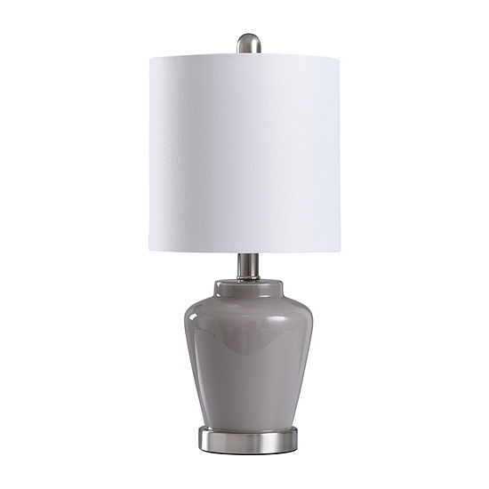 Stylecraft 9 W Gray & Nickel Glass Table Lamp