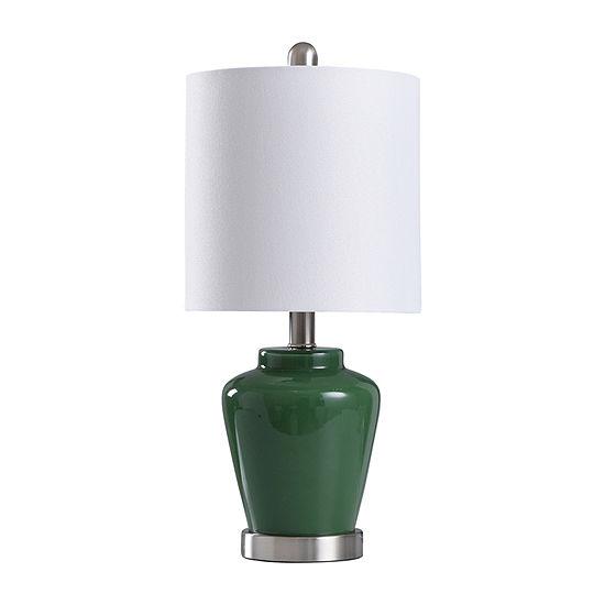 Stylecraft 9 W Green & Steel Glass Table Lamp