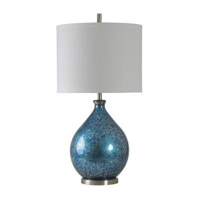 Stylecraft 18 W Blue Mercury Glass Table Lamp