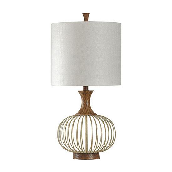 Stylecraft 17 W Natural   Brass Metal Table Lamp