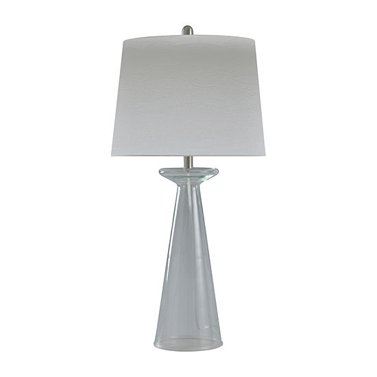 Stylecraft 16 W Seeded Clear Glass Table Lamp