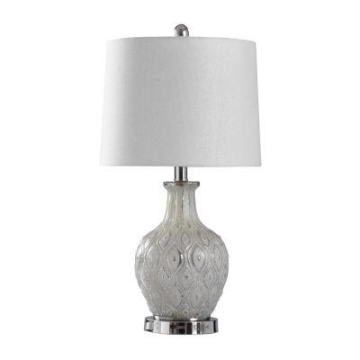 Stylecraft 12 W Off-White & Cream Glass Table Lamp