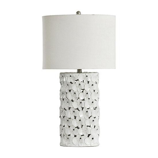 Stylecraft 16 W White Glaze Ceramic Table Lamp