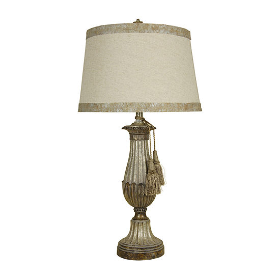 Stylecraft 17 W Distressed Silver Polyresin Table Lamp