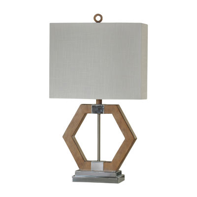 Stylecraft 16 W Chrome And Brown Polyresin Table Lamp