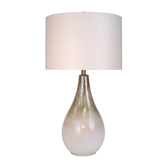 Stylecraft 18 W Mercury And White Glass Table Lamp
