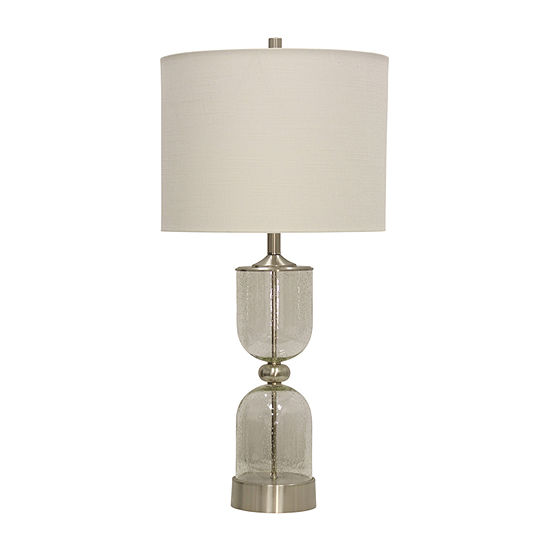 Stylecraft 16 W Seeded & Steel Glass Table Lamp
