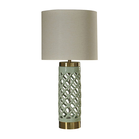 Stylecraft 16 W Mint And Gold Ceramic Table Lamp
