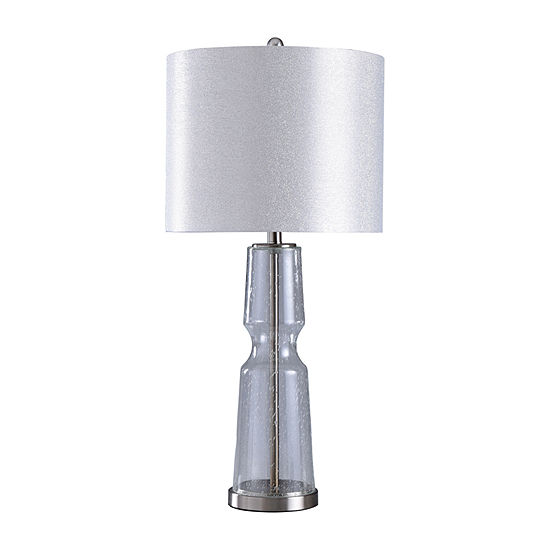 Stylecraft 15 W Chrome & Clear Metal Table Lamp