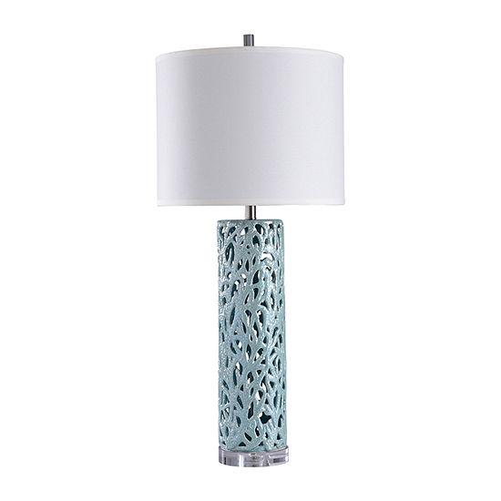 Stylecraft 17 W Anartia Blue Ceramic Table Lamp