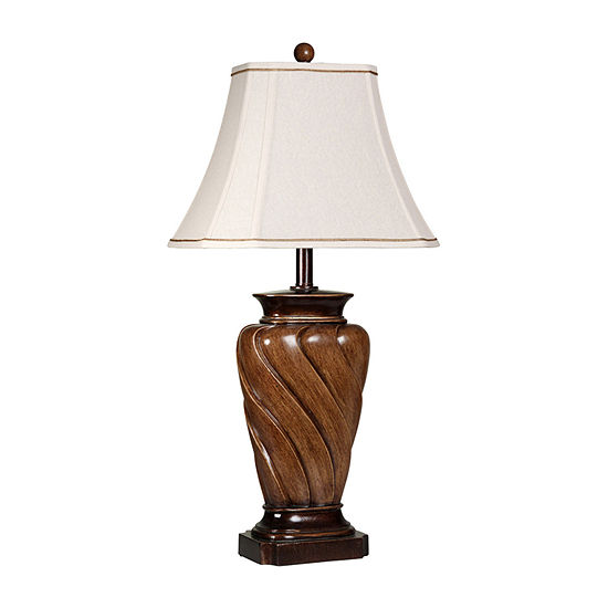 Stylecraft 15 W Toffee Wood Polyresin Table Lamp