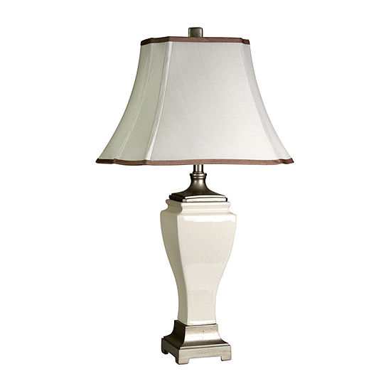 Stylecraft 18 W Cream Crackle Ceramic Table Lamp