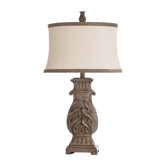 Stylecraft 17 W Distressed Brown Polyresin Table Lamp