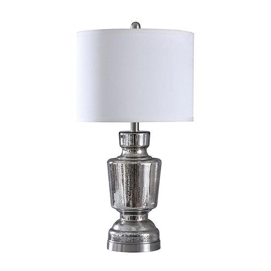 Stylecraft 14 W Mercury & Steel Glass Table Lamp