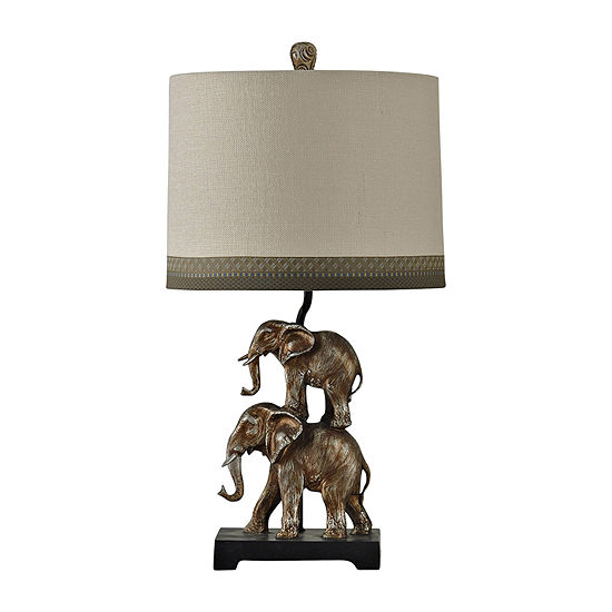 Stylecraft 14.5 W Antique Silver Polyresin Table Lamp