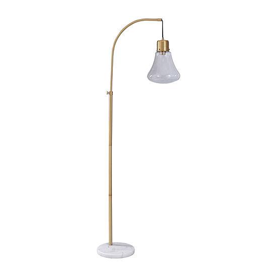 Stylecraft 11 W White & Gold Marble Floor Lamp