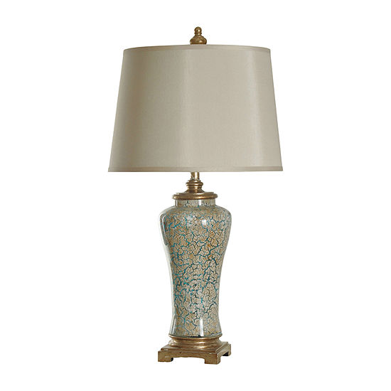 Stylecraft 18 W Blue And Gold Glass Table Lamp