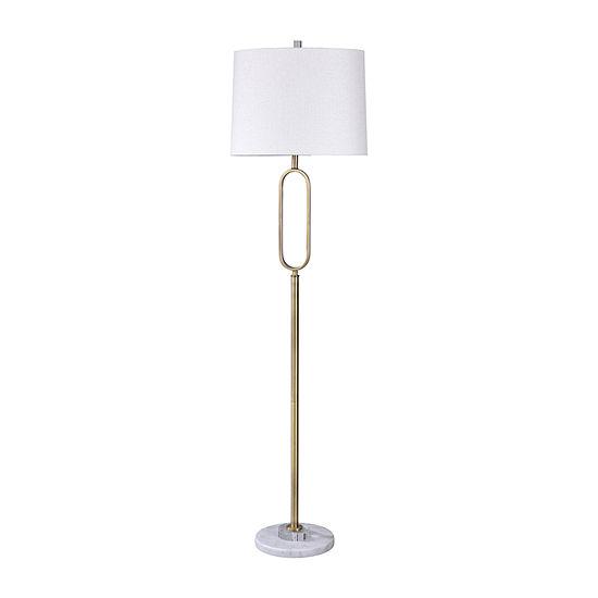 Stylecraft Rosa 17 W Marable & Silver Marble Floor Lamp