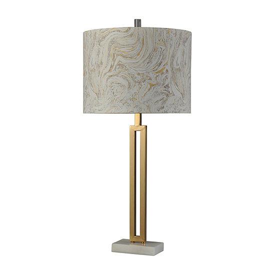 Stylecraft 15.5 W Marble Gold Steel Table Lamp