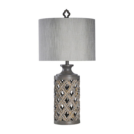 Stylecraft 16.5 W Vincent Gray Polyresin Table Lamp