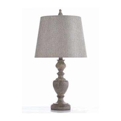 Stylecraft 13 W Gray & Cream Polyresin Table Lamp