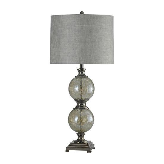 Stylecraft 17 W Blknickle Glass Table Lamp