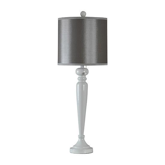 Stylecraft 13.5 W White Glaze & Gray Steel Table Lamp