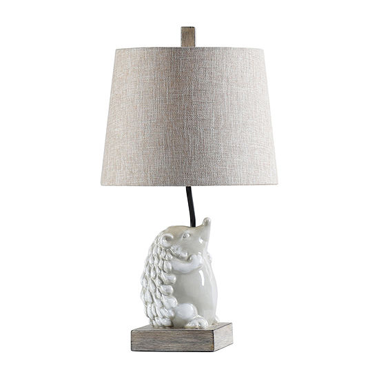 Stylecraft 12 W White & Gray Polyresin Table Lamp
