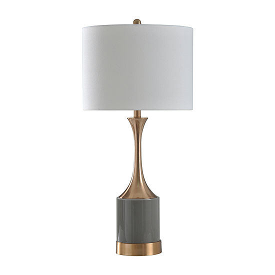 Stylecraft 15 W Copper &Grey Glass Table Lamp