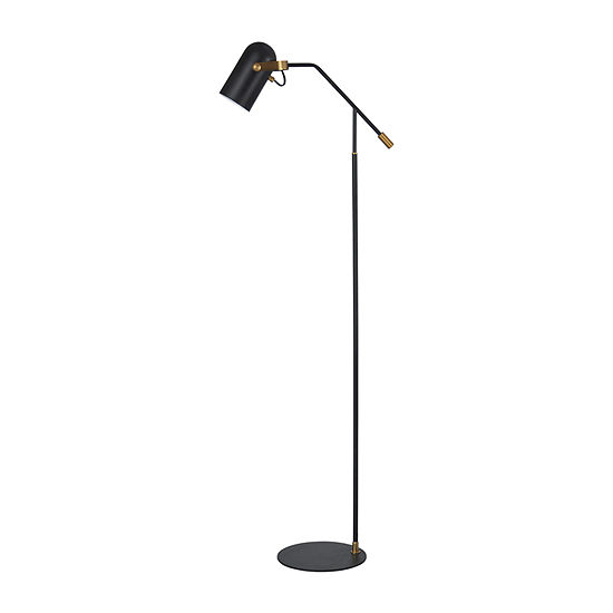 Stylecraft 197 W Matte Black Brass Steel Floor Lamp