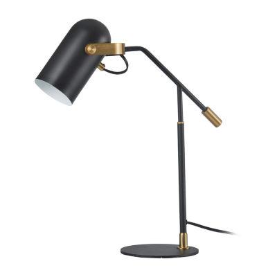 Stylecraft 13.4 W Matte Black & Brass Steel Table Lamp