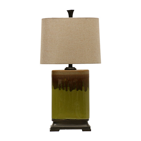Stylecraft 13.5 W Green And Brown Ceramic Table Lamp