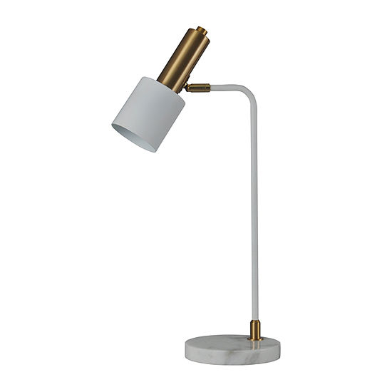 Stylecraft 36 W White Marble Steel Table Lamp