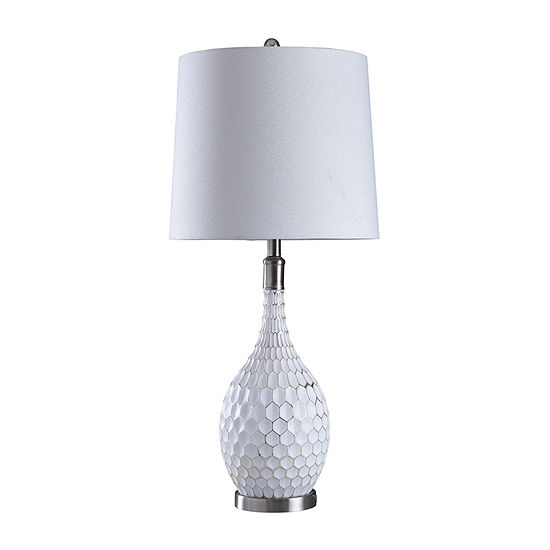 Stylecraft Aglona 15 W White & Silver Steel Table Lamp