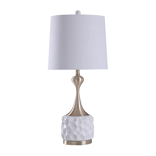 Stylecraft 15 W White Silver Polyresin Table Lamp