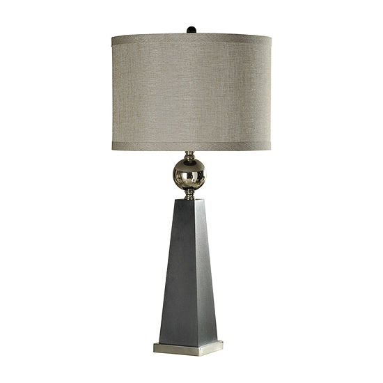 Stylecraft 18 W Gray And Chrome Steel Table Lamp