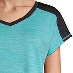 St. John's Bay Active Color Block-Womens V Neck Short Sleeve T-Shirt