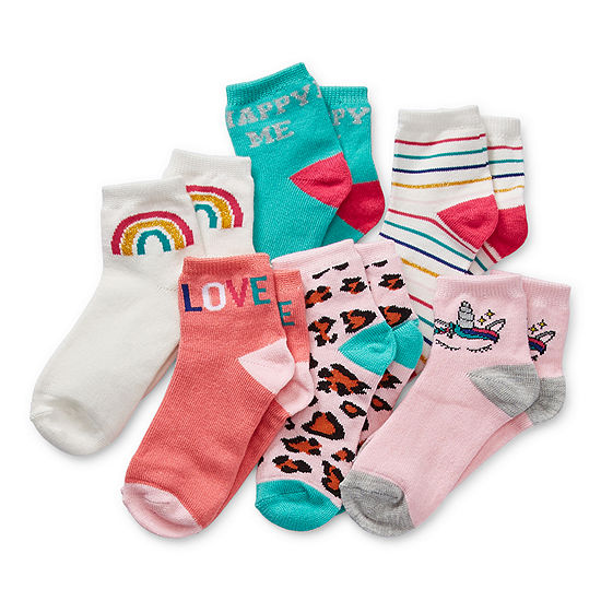 Okie Dokie Toddler Girls 6 Pair Quarter Socks
