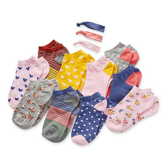 Arizona Little & Big Girls 10 Pair Low Cut Socks