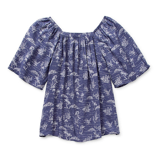 Arizona Little & Big Girls Square Neck Short Sleeve Blouse